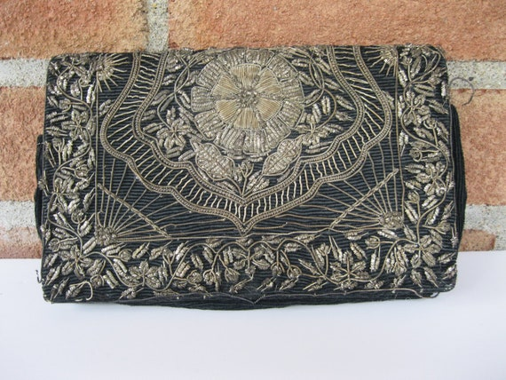Reserved for Sarah..  Vintage Black Velvet Clutch Purse with Gold Metallic Thread