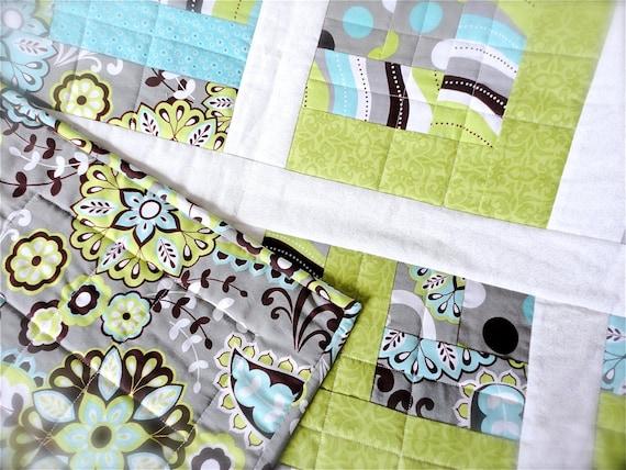 "Baby Boy Quilt - Modern Baby Quilt - Gray Baby Blanket - Green Baby Quilt - Girl Crib Quilt - Baby Boy Blanket - Baby Bedding 40"" x 50"""