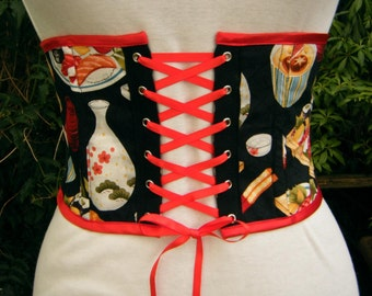 sushi underbust corset Waist cincher waspie. black sushi print with red lacing. one only. Kawaii