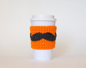 Neon Orange Mustache Coffee Sleeve - Reusable Orange - Coffee Sleeve - Mustache Coffee Sleeve by Di Nuovo