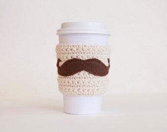 Natural Mustache Cozy - Nuetral Cup Cozy - Brown Mustache Coffee Sleeve