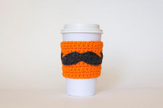 Neon Orange Mustache Coffee Sleeve - Reusable Orange - Coffee Sleeve - Mustache Coffee Sleeve by Di Nuovo