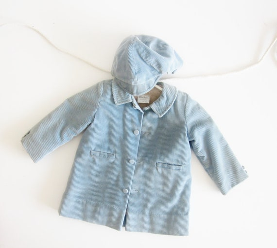 Vintage Boy Coat Baby Blue Cordoroy Sailor Newsboy 1950 Fall Winter Coat 3T Back to School