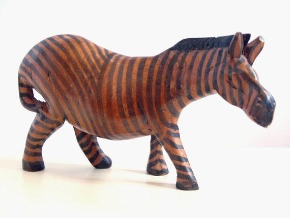 Vintage Zebra Hand Carved Wood Sculpture African Savannah Wildlife Carving Hand Painted Stripes