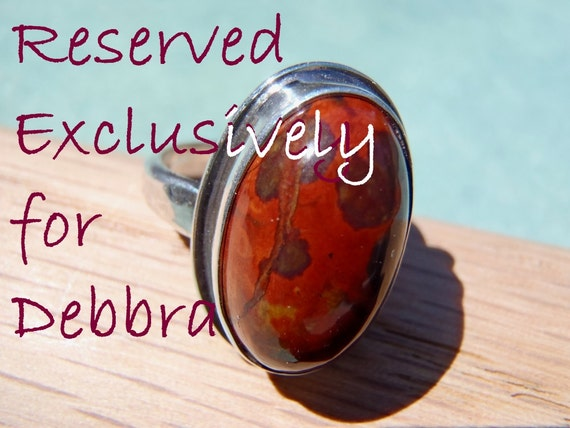 RESERVED for DEBBRA - Dark Red Orbicular Jasper and Sterling Silver Ring Size 6 Simple Design Oval Cabochon - New Handcrafted Jewelry