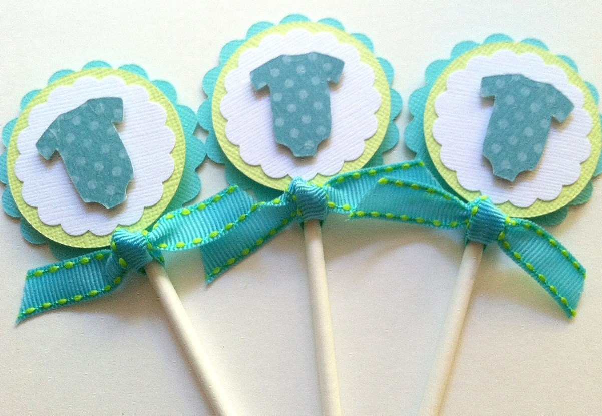 Cupcake toppers baby shower cupcake toppers baby bodysuit for Baby shower cupcake picks decoration