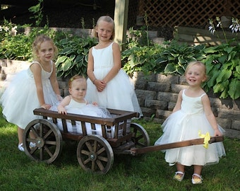 Medium  Flower Girl Wedding Wagon- Stained Dark or Light Brown