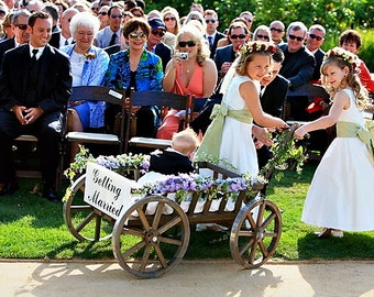 Large Flower Girl Wedding Wagon - Stained Dark Brown