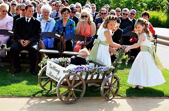 Large Flower Girl Wedding Wagon Stained Dark Brown