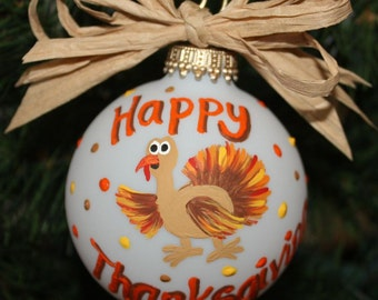 Handpainted Glass Thanksgiving Ornament,  a Colorful Turkey Ornament