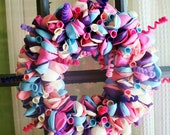 Happy Birthday Balloon Wreath- pinks, purples, teal, white