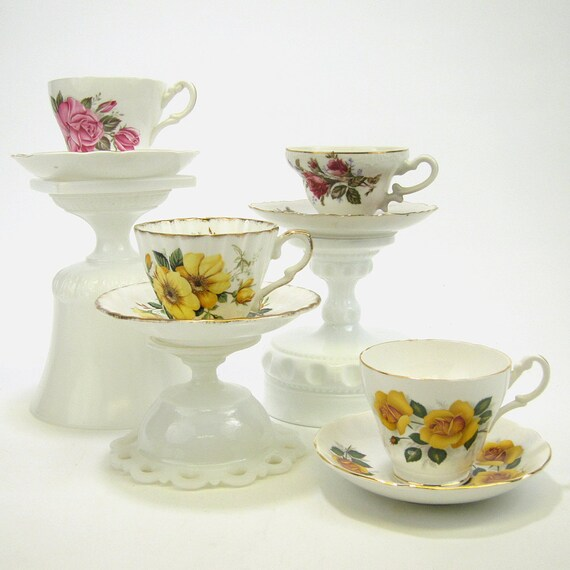 Four bone china teacups and saucers - pink and yellow - instant collection - vintage