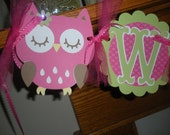 Owl Baby Shower Banner, Welcome Baby with Owls, hot pink green owl banner, Matching Tissue Pom Poms Available