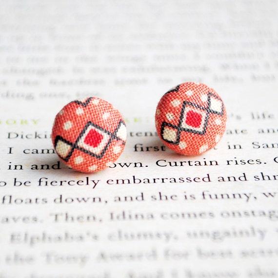 Geometric, Tribal, Polka Dot Button Earrings, Nickel Free