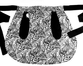 Black & White Zebra Full Pocket Reversible Half-Skirt Apron