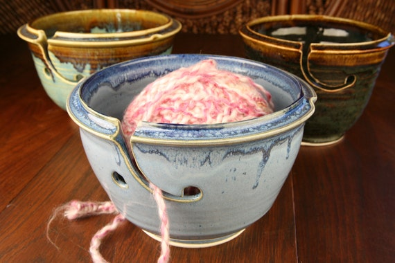 Blue glazed yarn bowl
