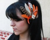 Ivory Orange Goose Light Brown Pheasant Feather Boutique Bridal Hair Clip Fall Fascinator Photo Prop