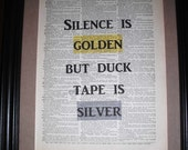 Art print for living room, library, bedroom, kitchen ir any room, quote art, fun and whimsical Art, Silence is Golden.