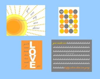 "Nursery decor // Nursery art Prints // Art for kids room // You are my sunshine Wall Art // Cute Nursery Art // Four 8x10 ""and 5x7"" prints"