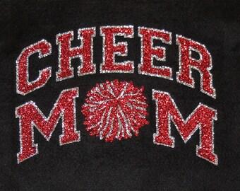 Women's Glitter Bling Cheer Mom shirt