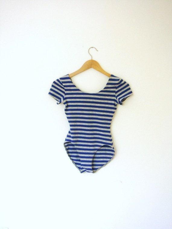 Vintage striped jersey bodysuit - S/M