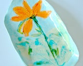 Ceramic Serving Platter with Day Lily