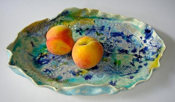 Serving platter in turquoise, ocean blue, Sushi Platter