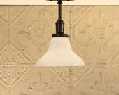 Lighting with Semiflush Exposed Socket Design with Opal Glass Shade