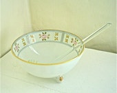 Vintage Nippon Bowl with Tiny Glass Ladle -- Pink Roses and Gold Dots Mayonnaise or Sauce Bowl