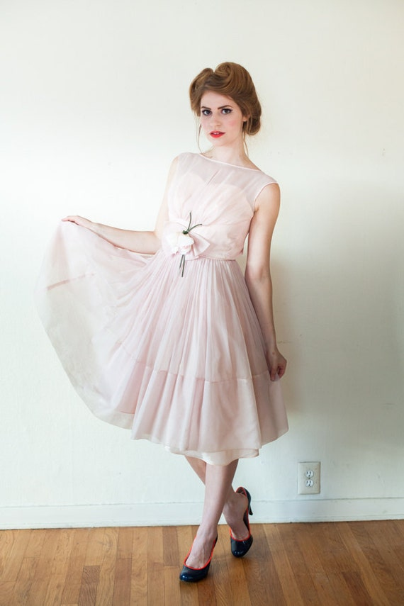Vintage 1950s Dress - Pink Illusion Full Skirt Party Prom Wedding Dress Chiffon - Extra Small - XX Small