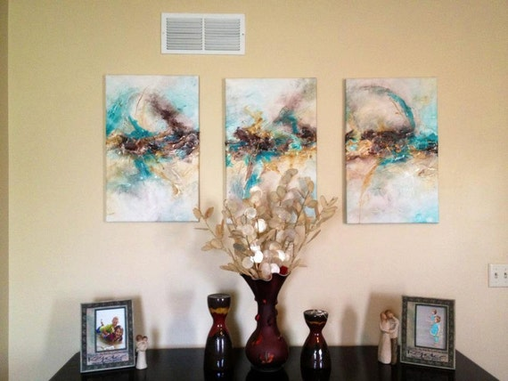SALE 30% OFF Original Modern Contemporary Abstract Triptych Painting By Alisha 3x 27x17
