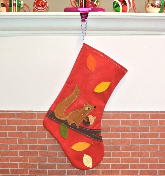 Squirrel Christmas Stocking in Red by Allenbrite Studio