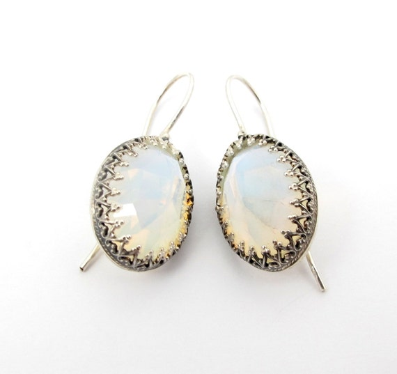 Opalite Earrings - Opalite in Silver Crown Setting Earrings