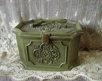 Vintage 70's Avocado embossed Resin plastic, Sewing chest, Storage box