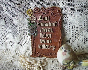 Vintage Plaque A new commandment, Love One another, John 13 34