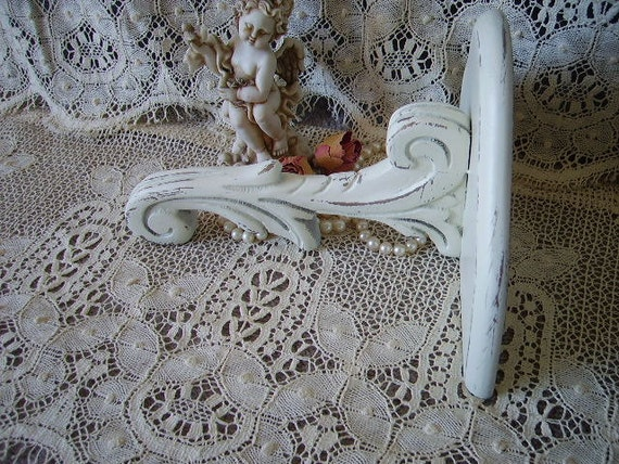 Rita, Shabby French Country Style Wood wall shelf, creamy white, distressed, mid century Vintage painted