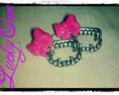Pink Bow Fang Earrings