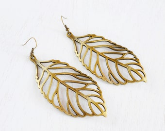 Skeleton Leaf Earrings,Bold Jewelry,Large Leaf Jewelry Earrings,Dangle Earrings,Fashion Wearable Jewelry,Lariat Leaf,Fallen Leaf
