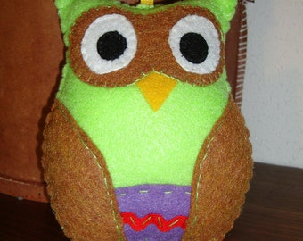Sale - Felt Owl in Lime Green with Brown contrast