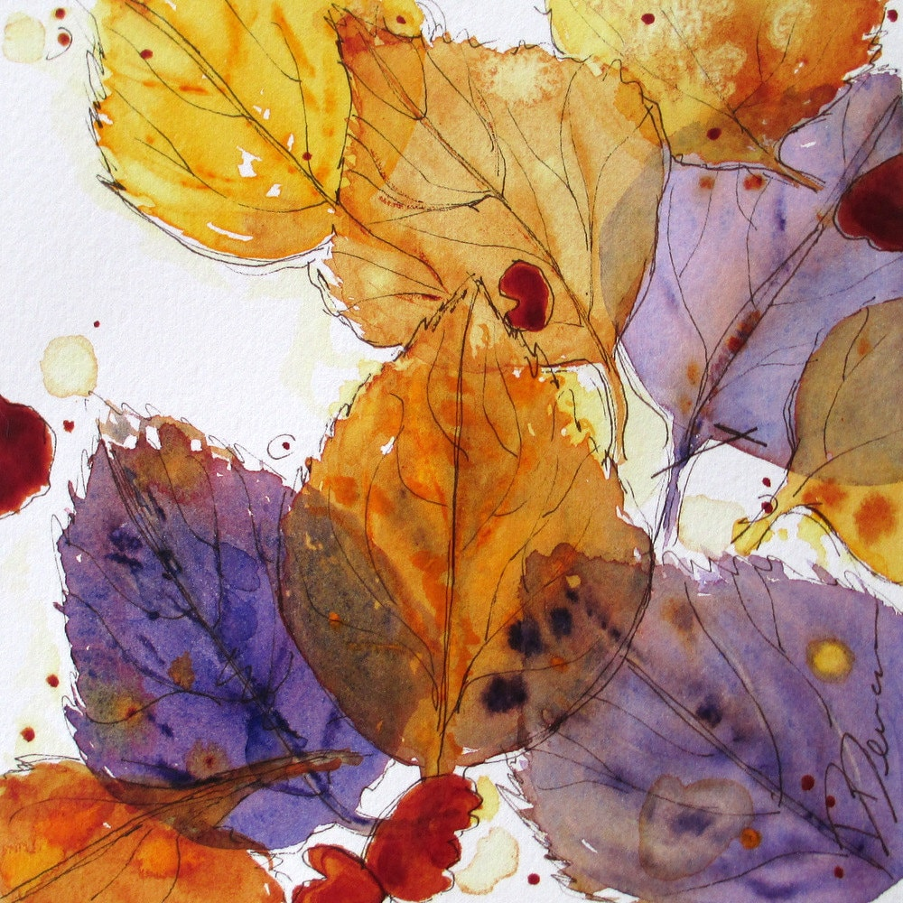 Autumn Leaves Watercolor Sketch