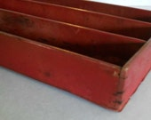 Vintage Rustic Red Divided Wooden Box