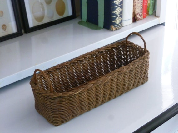 Vintage Basket with handles and wood bottom