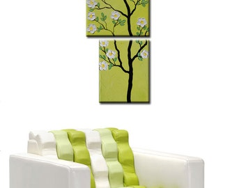 Tree Blossom, Abstract Original Modern Painting, Textured Impasto Flower Tree Painting, flowers painting, white flowers on green