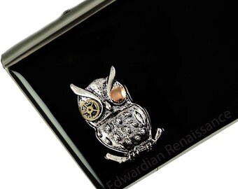 Robot Owl Metal Accordion Wallet Neo Victorian Sci Fi Owl Gear Sprockets RFID Credit Card Holder Custom Colors and Personalized Options