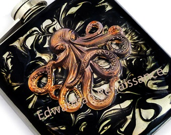 Steampunk Octopus Flask Inlaid in Hand Painted Enamel Black Liquid Ink Design Oxidized Kraken Neo Victorian Custom Colors and Personalized