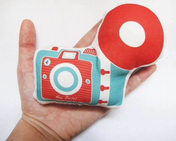 Mini Camera Brownie Plush / Pillow in Red and Dark Teal by Yellow Heart Art