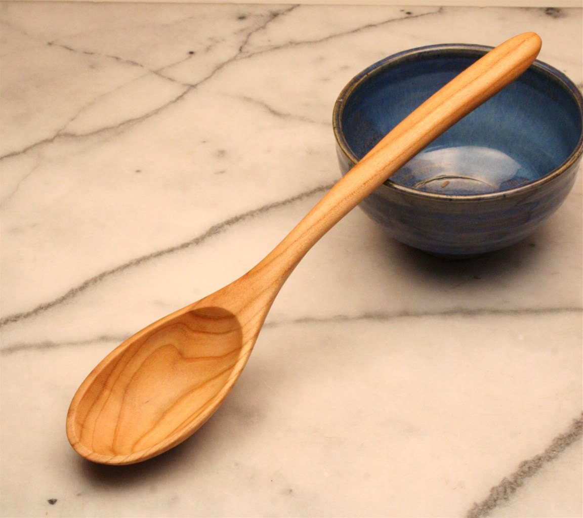 Small Wooden Serving Spoon Kitchen Utensil Of Salvaged Plum