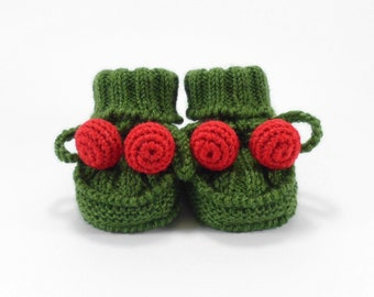 Baby Booties, Hand Knit Baby Infant Shoes, Green with Red Baby Boots, 3 to 6 months