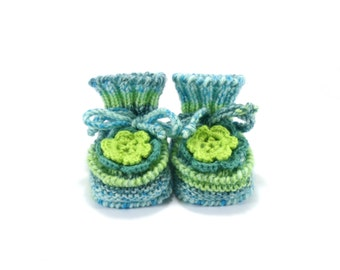 Knitted Baby Booties with Crochet Flower - Green and Blue, 3 - 6 months