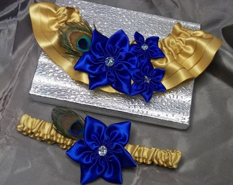 Wedding Garter Set with Royal Blue Star flowers,Gold Band, and Peacock Feather, Bridal Garter Set